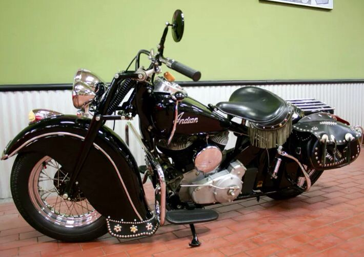 Immaculate restoration of a '47 Indian Chief motorcycle by the late great Pete Bollenbach.