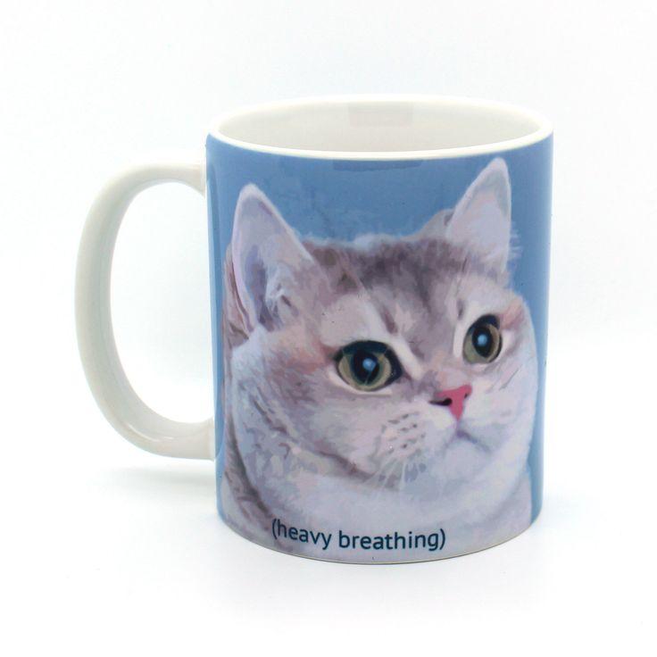 Heavy Breathing Cat meme funny mug, gifts for him, meme mug, unique mug, office mug, housewarming gift, gifts for her 4P124A by Memeskins on Etsy https://www.etsy.com/listing/255102732/heavy-breathing-cat-meme-funny-mug-gifts