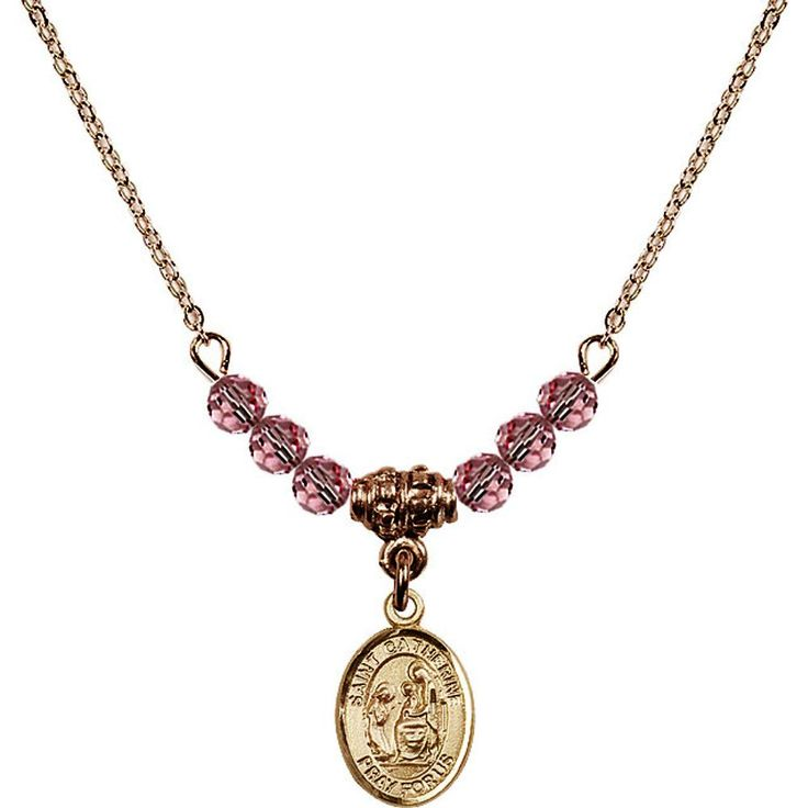 18-Inch Hamilton Gold Plated Necklace w/ 4mm Light Rose Pink October Birth Month Stone Beads & Saint Catherine of Siena Charm. 18-Inch Hamilton Gold Plated Necklace with 4mm Light Rose Birthstone Beads and Saint Catherine of Siena Charm. Hand-Made in Rhode Island. Lifetime guarantee against tarnish and damage. Hamilton gold is a special alloy designed to have a rich and deep gold color.
