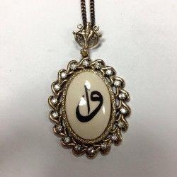 Zirkon taşlı bronz Elif Vav Kolye  15 lira
