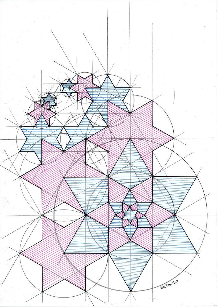 #fractal #progression #symmetry #hexagon #mathart #regolo54 #geometry #star #handmade #circle #disk #Escher #isometric #triangle