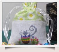How To Make a Drawstring Bag with Stitched Front Detail - downloadable chart.