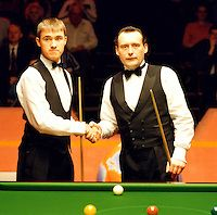 Snooker player Jimmy White during semi-final match with Stephen Hendry in the 1995 World Snooker Championships.