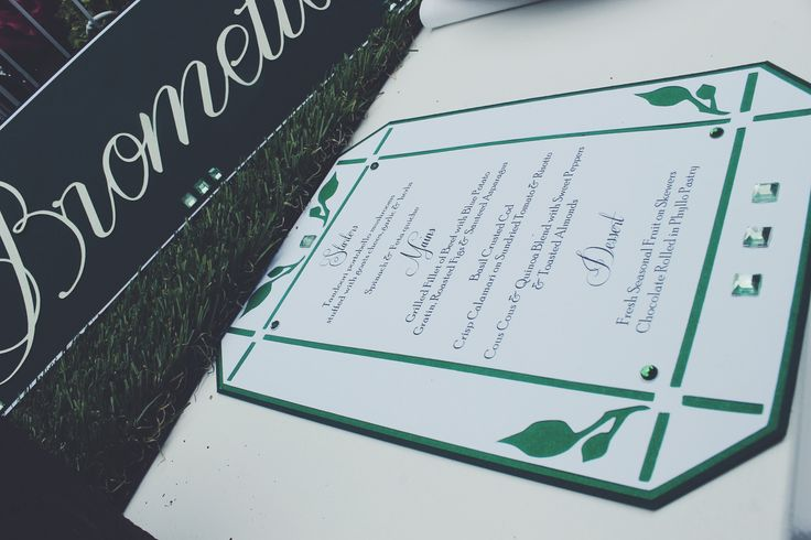 Secret Garden Die Cut Menu card for The Emerald Room - d3tinvitations  Www.d3tinvitations.co.za  #wedding secret garden stationery #wedding green menu card & table name