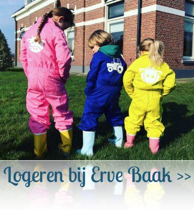 Logeren bij #Belvilla ErveBaak, in een bedrukte #kinderoverall van Chick-a-dees.nl