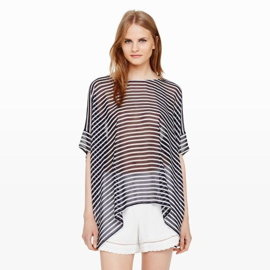 Dreya Top - Short Sleeve Shirts at Club Monaco [AWM: I don't like that this is see-through but otherwise I do like the cut and pattern/color.]