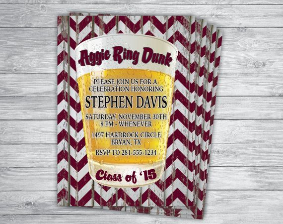 Any Color/Event AGGIE RING DUNK Texas A&M by PrintPros on Etsy