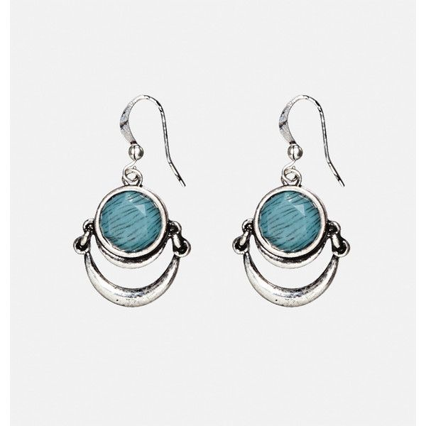 Avenue Blue Moon Drop Earrings ($10) ❤ liked on Polyvore featuring jewelry, earrings, plus size, teal, artificial jewellery, imitation jewelry, blue color earrings, hook earrings and aztec jewelry