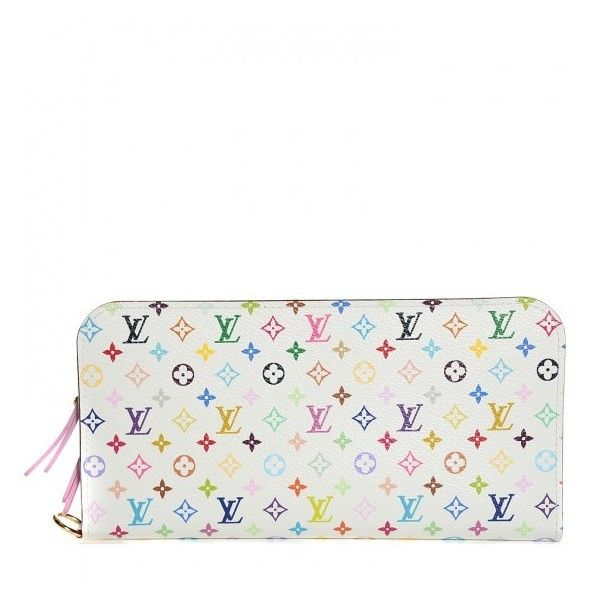 LOUIS VUITTON Multicolor Insolite Wallet White Litchi ❤ liked on Polyvore featuring bags, wallets, monogram wallet, mini bag, canvas wallet, multi color wallet and white canvas bag