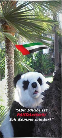 """Custom Badehandtuch aus Abu Dhabi. """"Abu Dhabi ist PANDAstisch!"""" Ihr ausgefallenes, modisches Mitbringsel aus Abu Dhabi, das allen beweist: Sie sind ein richtiger Weltenbummler! Und das Coolste daran: Sie müssen nicht einmal vom Sofa aufstehen – Ihr Souvenir kommt per Post ins Haus! Auch in Englisch, Spanisch, Italienisch und Französisch erhältlich!"""