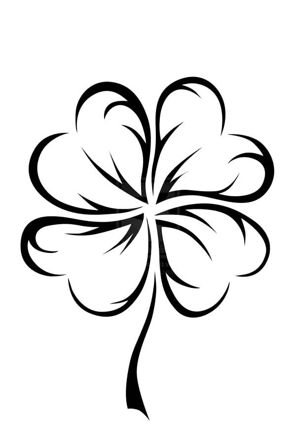 An Art Graphic of Four-Leaf Clover Coloring Page
