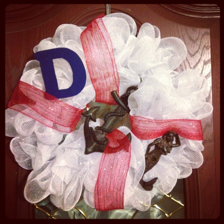 Nautical deco mesh wreath.Nautical Deco, Deco Mesh Wreaths