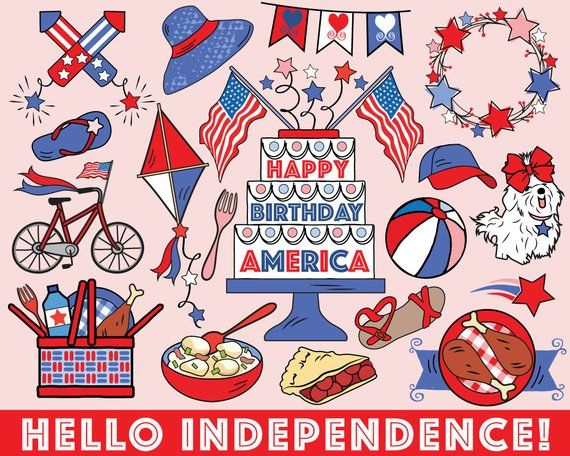 Fourth of July Clipart, vector, summer clipart, 4th of July clipart, July 4th clipart, bullet journa