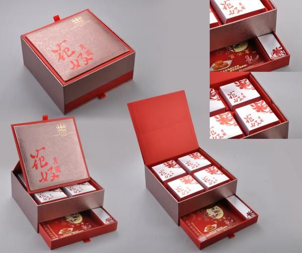 moon cakes in luxurious paper gift box.