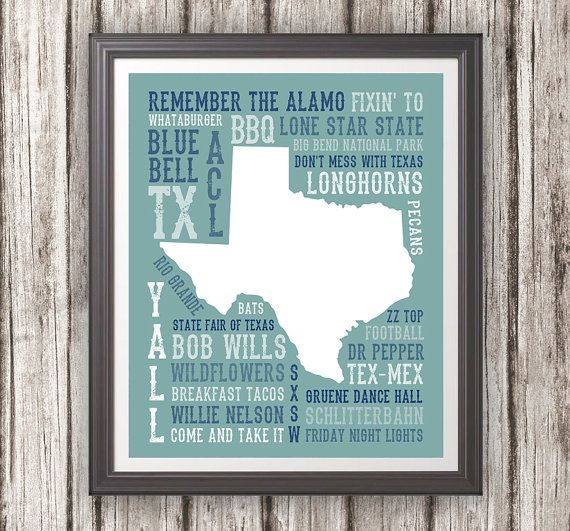 This Print Features The State Of Texas With Popular Texas Words.