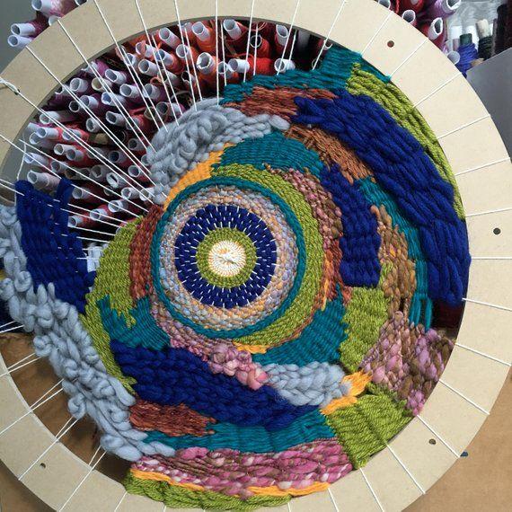 Circular Colorful Textile Art Fabric Circle Art Boho Decor Wall Decor Wall Hanging Textile Hand made