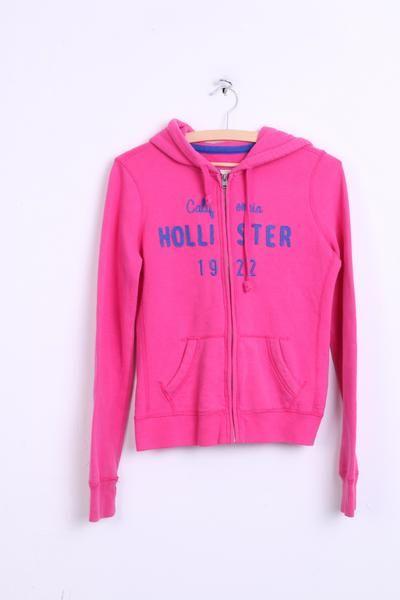 Hollister Womens S Sweatshirt Pink Cotton Jumper Hood Sport - RetrospectClothes