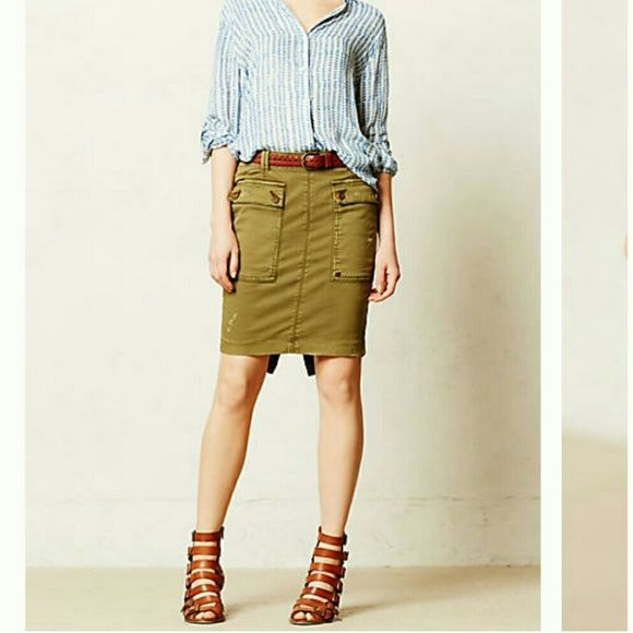 Anthropologie chino cargo skirt Olive green cargo skirt with front pockets. From Anthropologie, brand is Hei Hei. Like new condition. Anthropologie Skirts