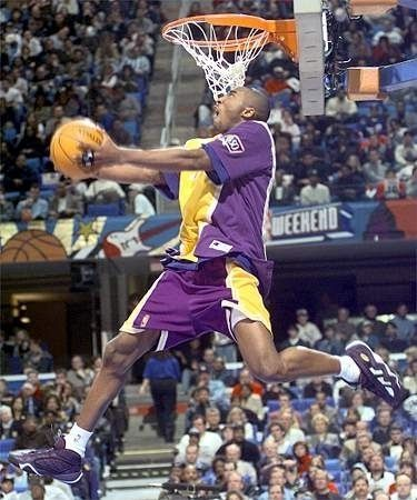Kobe wins the Slam Dunk competition at the All Star game his rookie year.