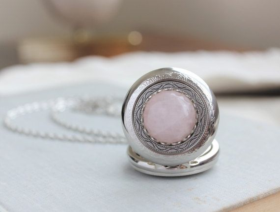 Rose Quartz Pocket Watch Necklace. This beautiful rose quartz cabochon measures 18mm. Pocket watch measures 2 inches long and 1-1/2 inches wide. Chained in nickel free silver plated chain. Closes with a lobster clasp.  See other rose quartz jewelry here: https://www.etsy.com/shop/WearitoutJewelz?ref=si_shop&search_query=rose+quartz  Visit my shop today to see other great items. :) http://www.etsy.com/shop/WearitoutJewelz  ♥Let me know...