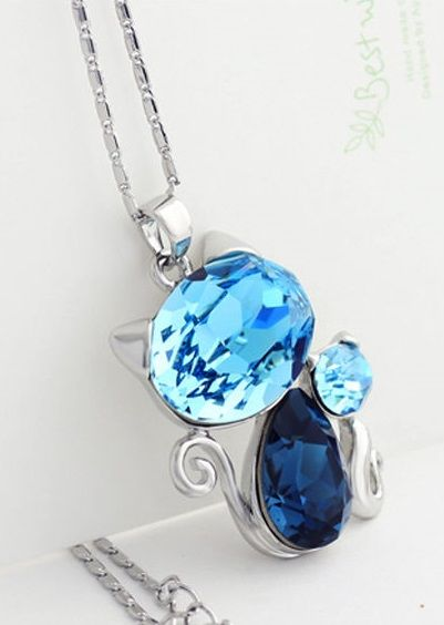 White Gold Plated Crystal Made with Swarovsky Elements Two Cats Necklace