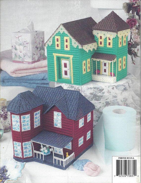 Plastic Canvas Pattern Book Victorian House Tissue Covers - Annie's Attic - Tissue Box Holder, Tissue Cover, Tissue House, Cottage, Village
