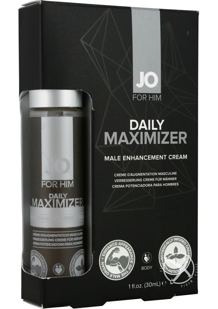 DAILY MAXIMIZER MALE ENHANCEMENT CREAM - JO DAILY MAXIMIZER is a topical cream designed to enhance the presence of the male organ. Infused with natural botanicals. Luxurious cream can be used as a prep prior to intimacy or foreplay.