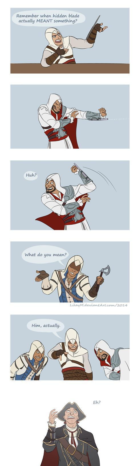 On tumblr I hate to be the one to always moan bout good ol times, but seriously... In AC, hidden blade was wow supercool assassin prestige woah! And then came Ezio with his gadgets... Especially th...