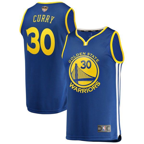 0a3545dcd  84.99 Men s Golden State Warriors Stephen Curry Fanatics Branded Royal 2018  NBA Finals Bound Fast Break Replica Player Jersey – Icon Edition.