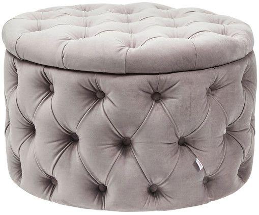 Machen Sie Ihre Wohnung Mit Dem Geknöpften Samt Hocker Chest Desire In  Silber Grau