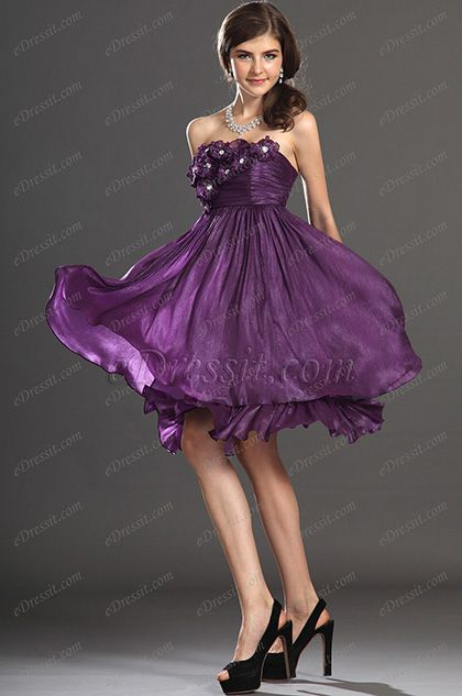 eDressit New Strapless Flowers Cocktail Dress Party Dress (04132506) #edressit #fashion #dresses #eveningdresses #straplessgowns #purple #homecomingdresses #promgowns
