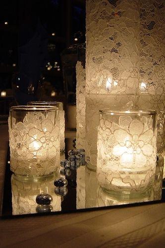 Do It Yourself: des photophores en dentelle pour une décoration de mariage romantique et lumineuse - Les idées décoration - Réception - MARIAGE.com