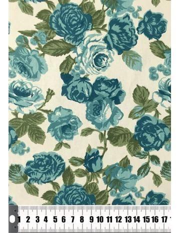 Tecido Floral Azul Petróleo Tricoline 100% Algodão Ref 17160