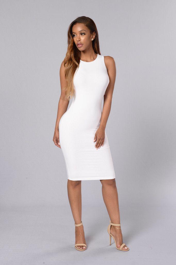 Pure Color Bodycon Mid-waist Keen-length Dress