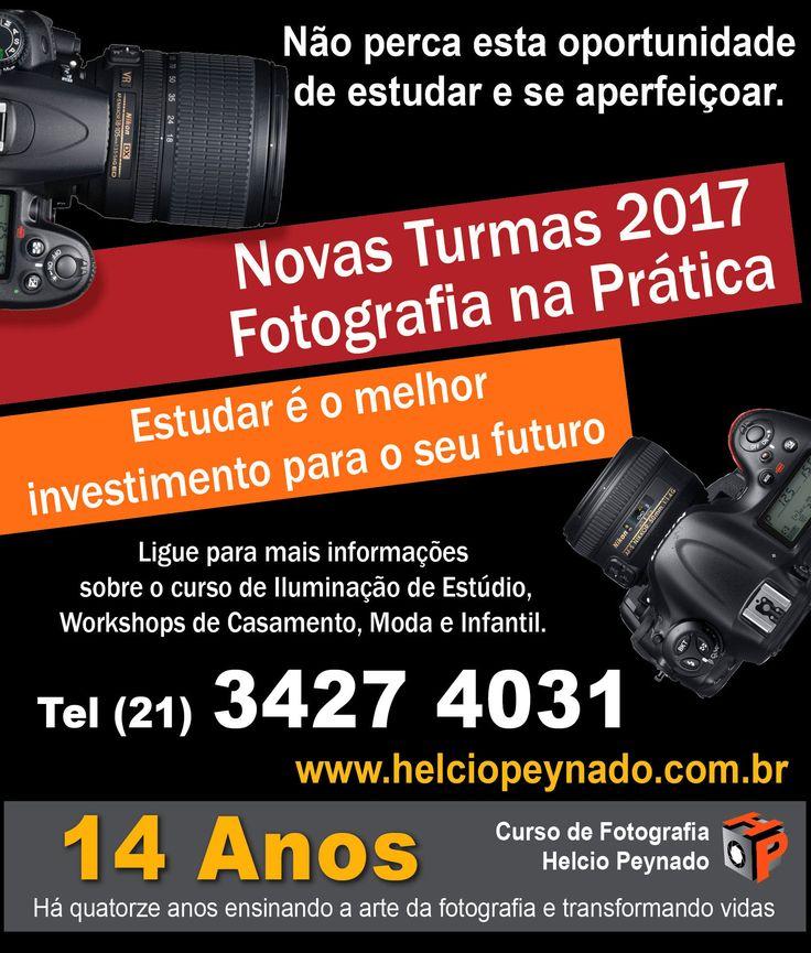 Aguardamos você em 2017 para estudar e se aperfeiçoar na Arte da Fotografia Há 14 anos ensinando a arte da fotografia e transformando vidas.  Não precisa possuir equipamento fotográfico (câmera).  Estudar é o melhor investimento para o seu futuro. Ligue (21) 3427 4031 www.helciopeynado.com.br  Inscrições abertas ligue (21) 3427 4031