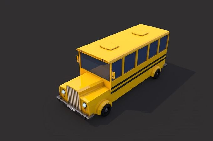 Low Poly School Bus by CreativeeArt on @creativemarket