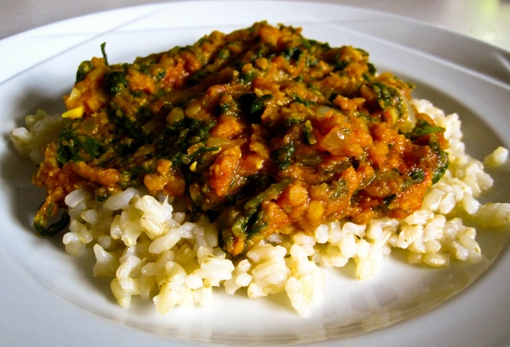 lentil and spinach curry: red lentils, curry powder, ginger root ...