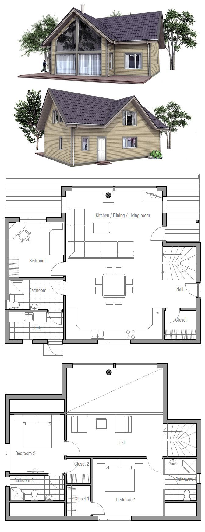 Nice plan, except the utility room connecting to the bathroom is weird. And there isn't any reason for there to be a shower there it would work better as a half bath unconnected from the utility room.