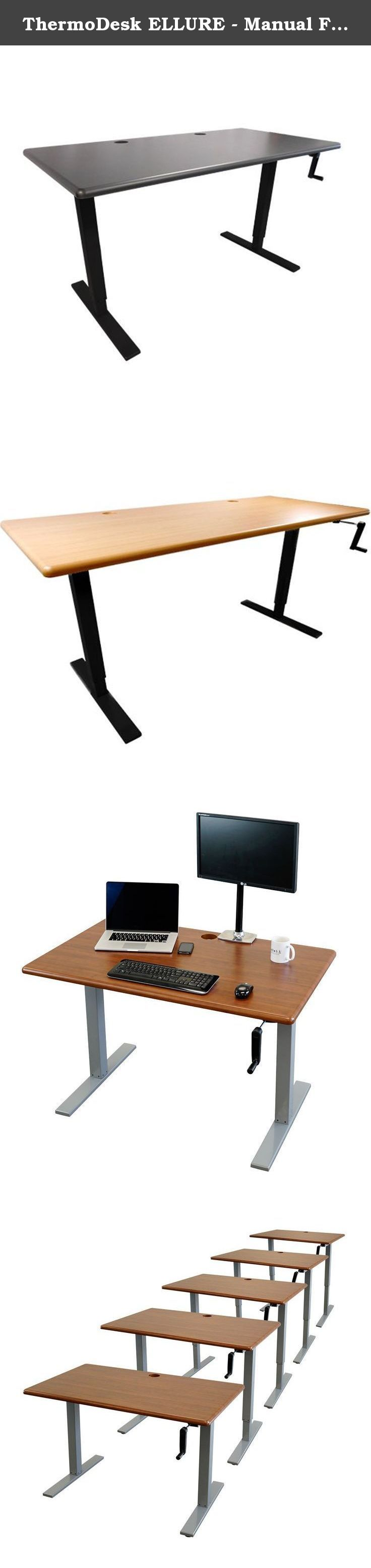 """ThermoDesk ELLURE - Manual Fast Adjustable Height Standing Desk - Sit Less & Be Healthier- Ergonomic Design- Predrilled for Easy Assembly - Black Base ( Shark Gray Desktop, 30"""" x 48"""" ). Blending Economy and Elegance Like Never Before, Plus FREE SHIPPING! iMovR's ELLURE combines a low-cost manual base with a premium tabletop, so you can enjoy the elegance of an extra-thick (1-1/8""""), ergonomically-contoured, 3D-laminated desktop without the price tag of an electric desk. Despite its…"""