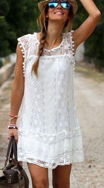 Lovely White Crochet Lace Shift Dress
