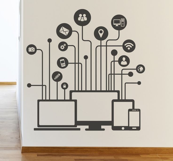 A wall sticker with a brilliant technological design that is ideal for decorating your office or e-commerce. Recognised social media icons and computers to liven up plain walls. #Office #Technology #Decoration