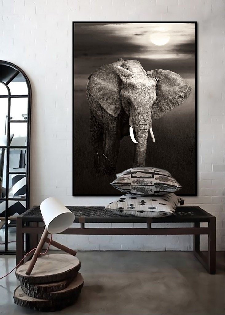 $159 Elephant Roaming Africa Wooden Framed Wall Art