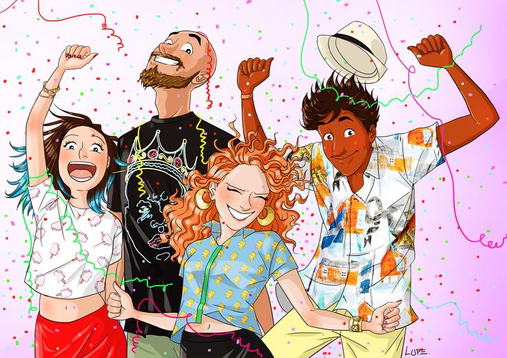 #draw #illustration #lupe #lupegraniteblog #colorful #friends #happy #party #smile #outfit