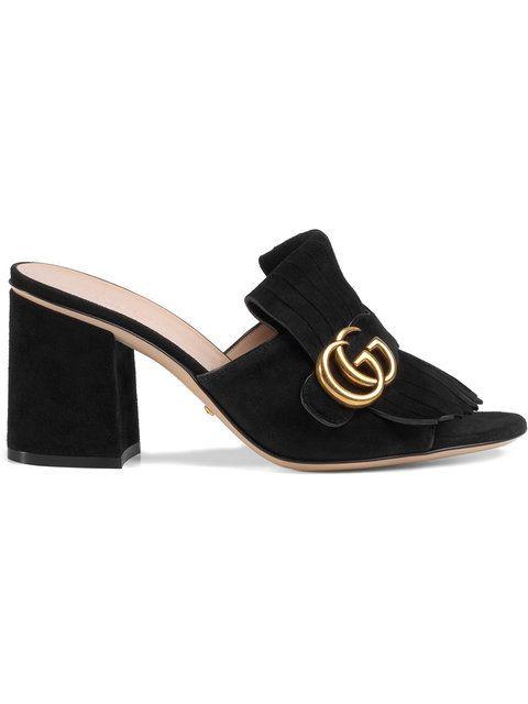 4df83c114a7 Gucci Suede Mid-heel Slide - Farfetch