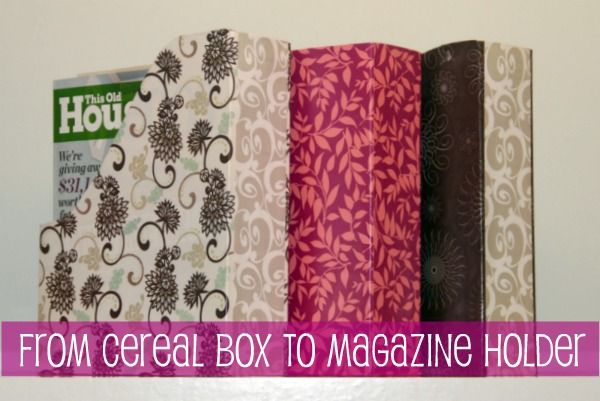 DIY- Cereal boxes turned into magazine holders. (school/activity books, craft paper, sticker sheets, mail, etc...)