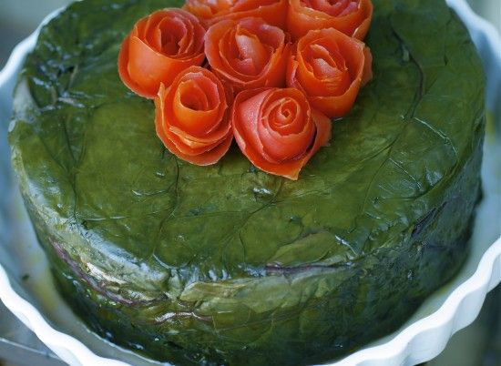Oh my.. Swiss Chard Cake (with traditional rice stuffing) - Easy to serve. Love how it looks when a piece is cut out.