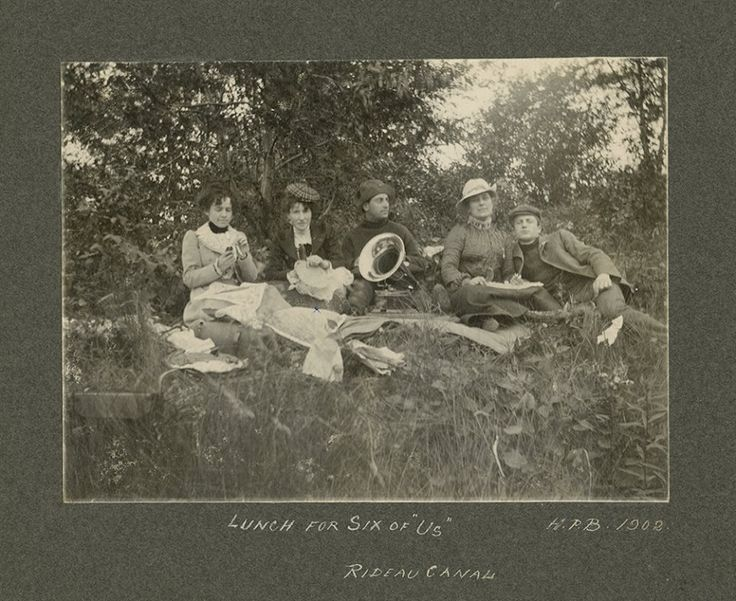 """[H.P. Beall, """"Lunch for Six of Us"""" Picnic on the Rideau Canal, , 1902, silver gelatin print, Bytown Museum"""