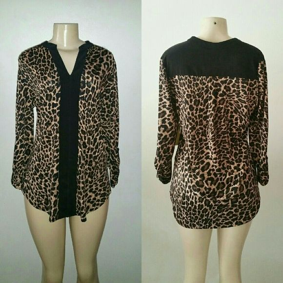 SALE Leopard Blouse 3/4 Sleeve L New Size L Runs big  Estimate for XL, 1X  Color black, brown Stretches Not see through V-neck line 3/4 Sleeve  Great condition  No flaws Perseption Concept Tops Blouses