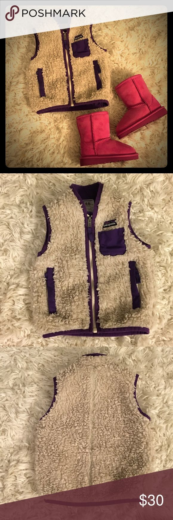 Patagonia Retro High Pile Fleece Vest -Little Girl This Patagonia vest is in great condition!  It is adorable, very cute and comfortable. This is the perfect piece for layering or wearing under another coat.  It is slightly matted due to was and wear.  It is reversible. What a perfect piece to add to your little ones closet. Patagonia Jackets & Coats Vests
