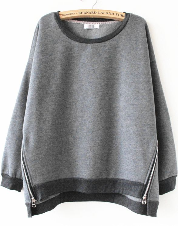 Grey Long Sleeve Side Zipper Sweatshirt EUR€23.22